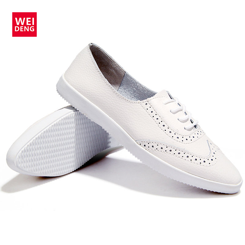WeiDeng Neutral Genuine Leather Brogue Women Preppy Style Casual Ventilation Fashion Leisure Flat White Lace Up Slip On Shoes weideng 2017 new brogue genuine leather women flats loafer casual ladies designer oxford shoes lace up fashion handmade