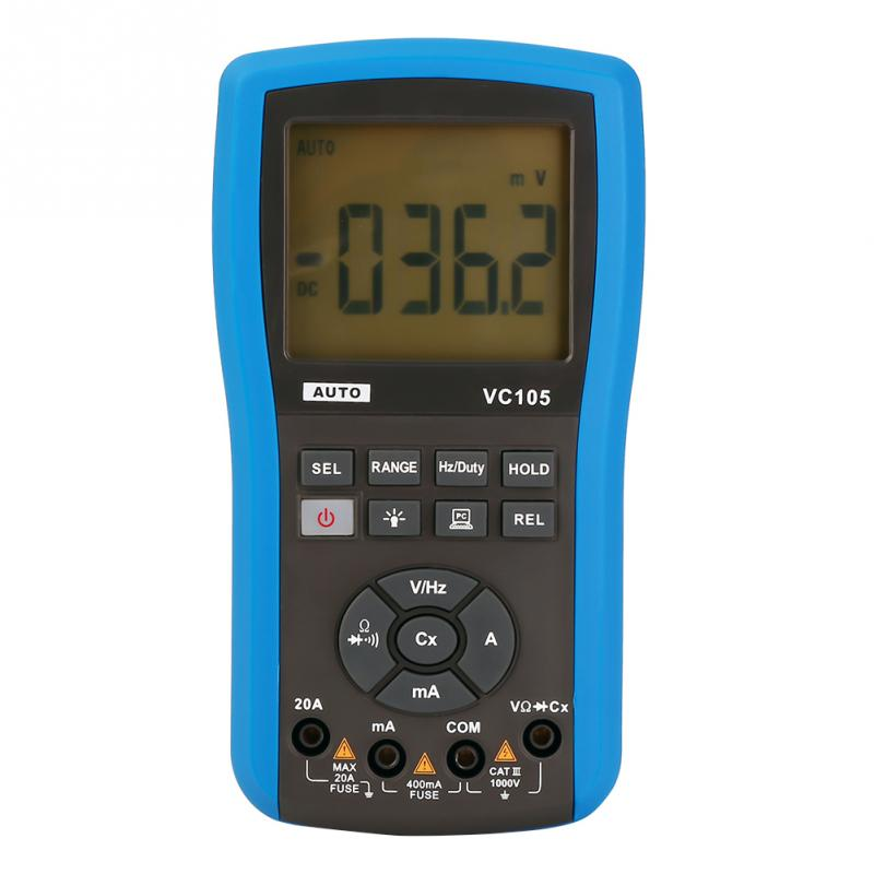 EU Plug 220V Ammeter for Electrician VC105 Rainproof Multimeter Automatic Ranging Multimeter AC/DC Current Voltage Tester yx360trn multimeter old electrician with