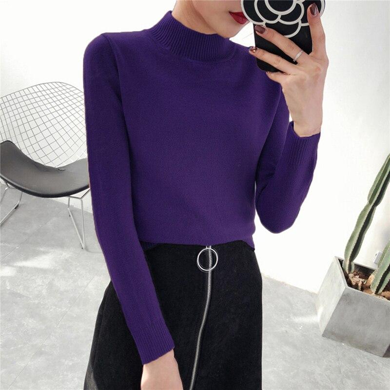 100% QualitäT Neue Art Und Weise Strickte Pullover Pullover Frauen Rollkragen Herbst Winter Warmen Grund Langarm Pullover Dünne Elastische Weibliche Tops