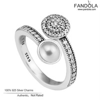 Lichtgevende Glow Trouwringen 925 Sterling Zilver Wit Kristal Parel en Clear CZ Vinger Verlovingsringen Voor Vrouwen