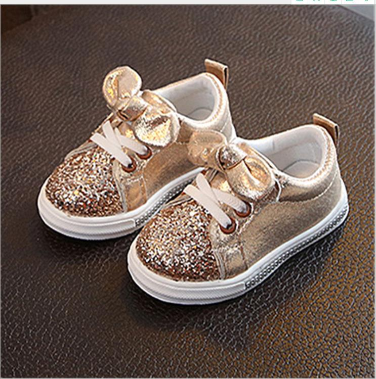 Baby Kids Shoes Girls Sneakers Glitter 2019 Toddler Girl Sneakers Soft Bottom With Crystal Kid Shoes Children Girls Bling Shoes