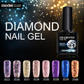 Modelones Brillante Diamante Colorido Brillo de Esmalte de Uñas de Gel Polaco ULTRAVIOLETA del Gel Soak Off Gel Nail Polish Necesita UV Led Lámpara de Uñas Gelpolish
