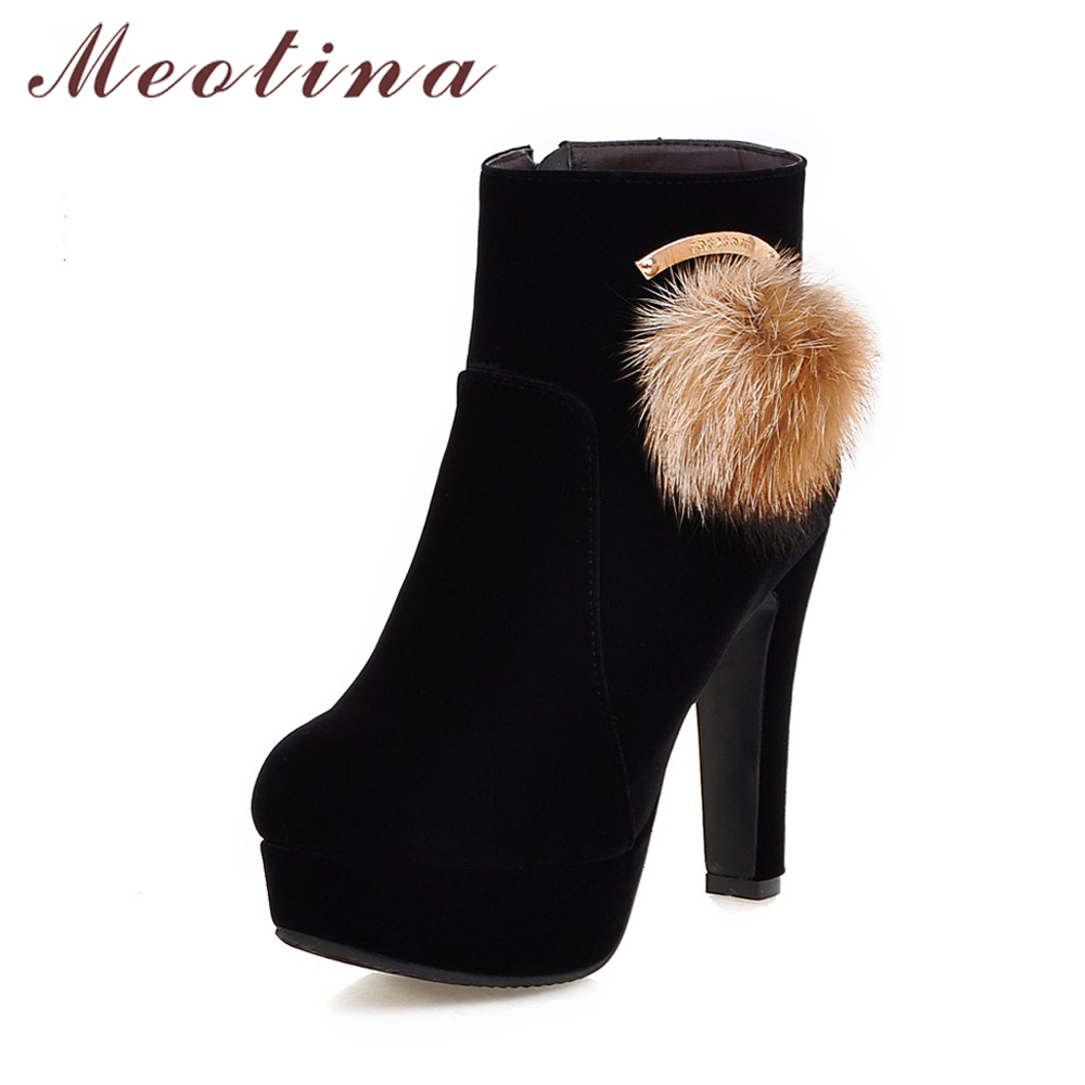 Meotina Women Ankle Boots Platform High Heels Round Toe Winter Boots Plush Ball Zip Boots Big Size 42 43 Black Red Botas Mujer big size 34 42 high quality genuine leather leisure low heels ankle boots fashion cowhide round toe platform women boots