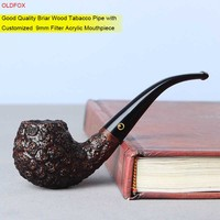 OLDFOX Good Quality Briar Wood Bent Smoking Pipe with Customized Taper Acrylic Mouthpiece 9mm Filter Tobacco Pipe aa0275sk