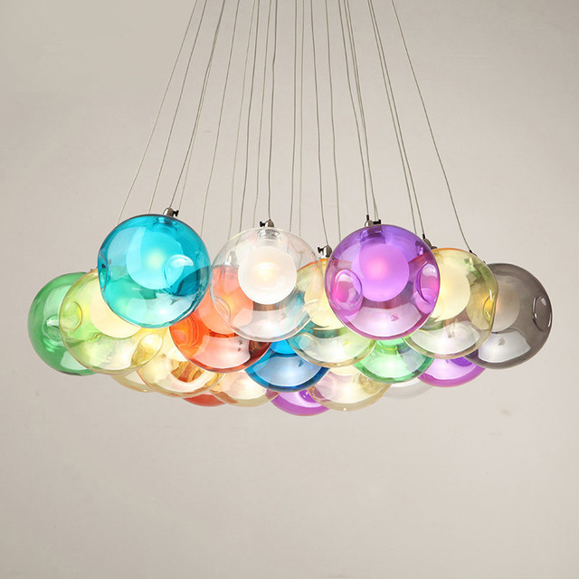 Creative Coloured Gl Pendant Light Free Combination Colorful Ball Hanging For Bedroom Dining Room