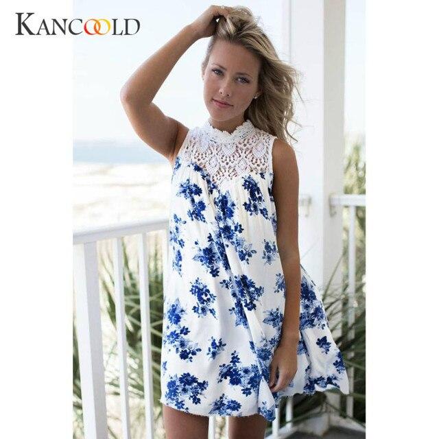 15cbb977da2dd US $11.27 |KANCOOLD women's dress Sleeveless summer dress Blue summer  dresses 2018 beach Floral Printed Lace Splice Casual Evening jan24-in  Dresses ...