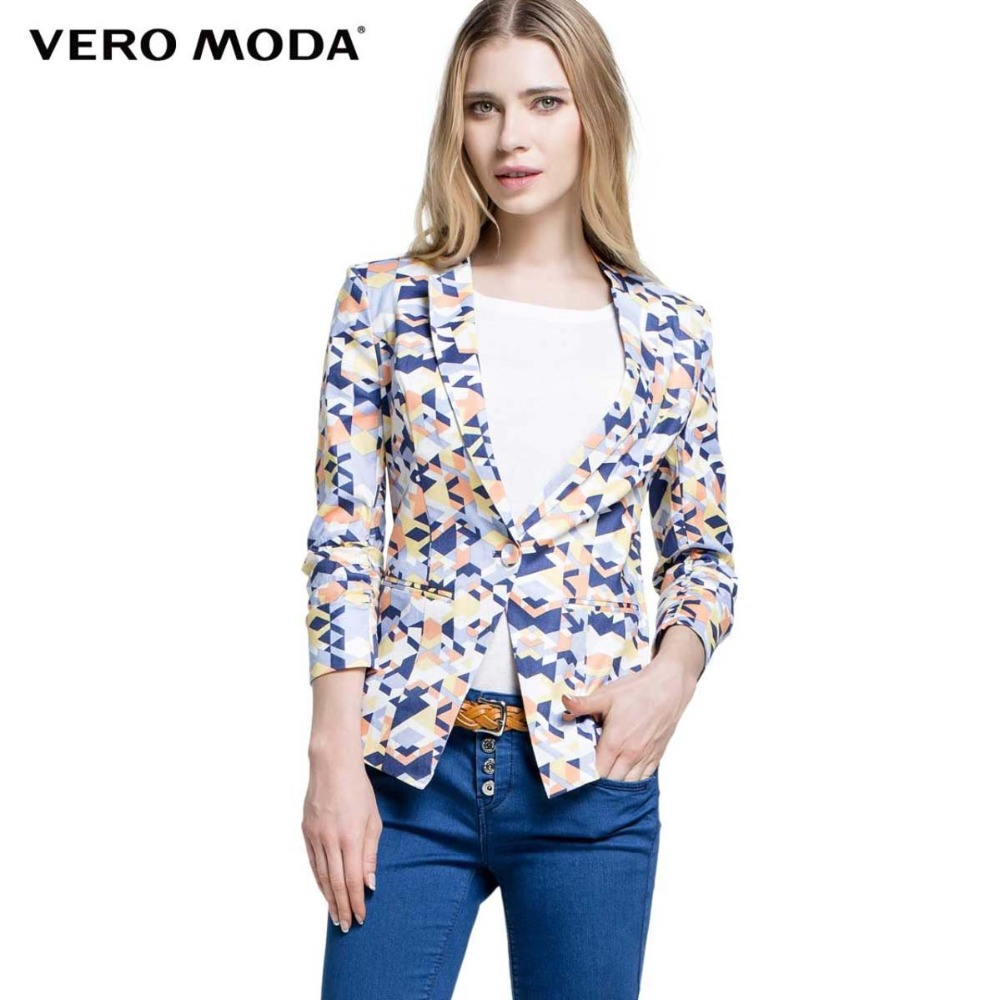 Vero Moda brand font b women b font fashion flax elastic cotton geometric print three Quarter