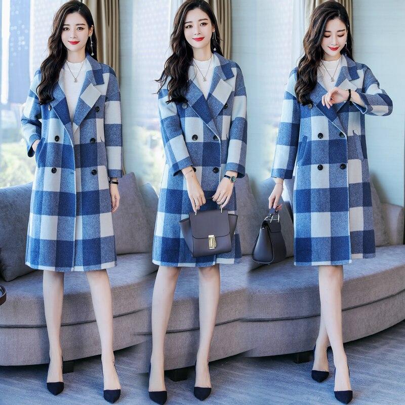 Plus Laine Longue gray Blue La Automne Carreaux Manteau Femmes Qualité Grate Pardessus Double Coffee Grid Haute D'hiver Taille De Mode Nouvelle Boutonnage À Veste r4wXrd