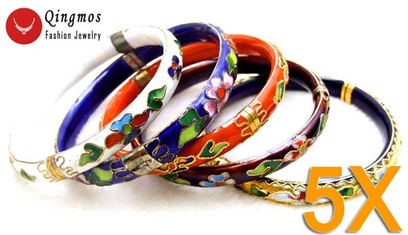Qingmos Wholesale 5 Different Color Cloisonne Enamel Bangles Bracelets for Women Cuff Handwork China Feature Bracelet-who147