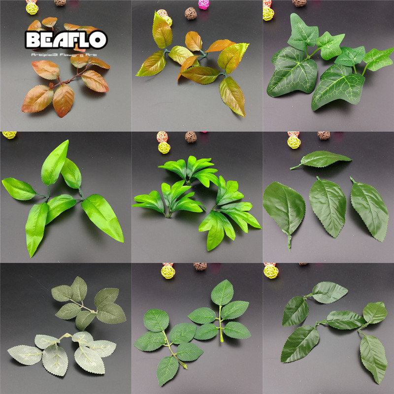 10pcs/lot Green Artificial Plants Leaves Wedding Home Decoration Flowers Leaf Accessories DIY Craft Handcraft