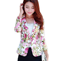 Women Blazer Jacket 2017 New Spring Fashion Floral Printed Small Suit Coat OL Style Single