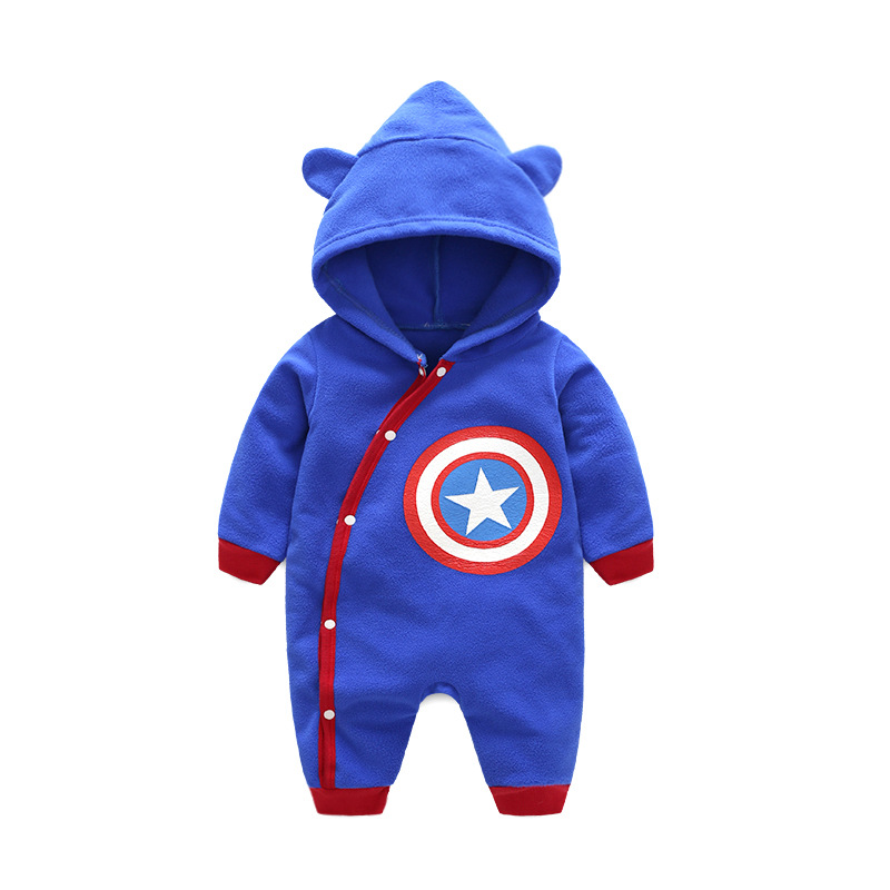 Spring Autumn Popular Polar Fleece Infant Baby Rompers Lovely Cartoon Hooded Zipper Home wear Outfit Long Sleeve Clothing 3-24M