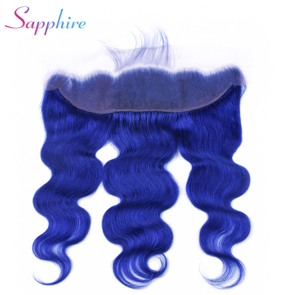 Sapphire Hair 13X4 Ear to Ear Lace Frontal Closure Free Part With Baby Hair Body Wave Blue Color Human Hair Remy Hair