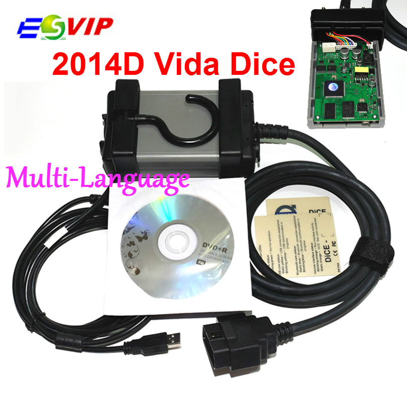 Latest Version 2014D Multi-language Vida Dice For Vo--lv--o Professional Diagnostic Scanner Quality Free Shipping multi language v159 latest version renault can clip professional auto obdii diagnostic tool with high quality cnp shipping