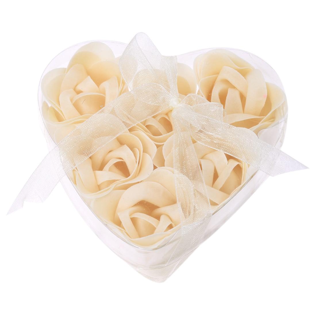 6 Pcs Bathing Shower Off White Rose Flower Bath Soap Petals W Heart Shaped Box