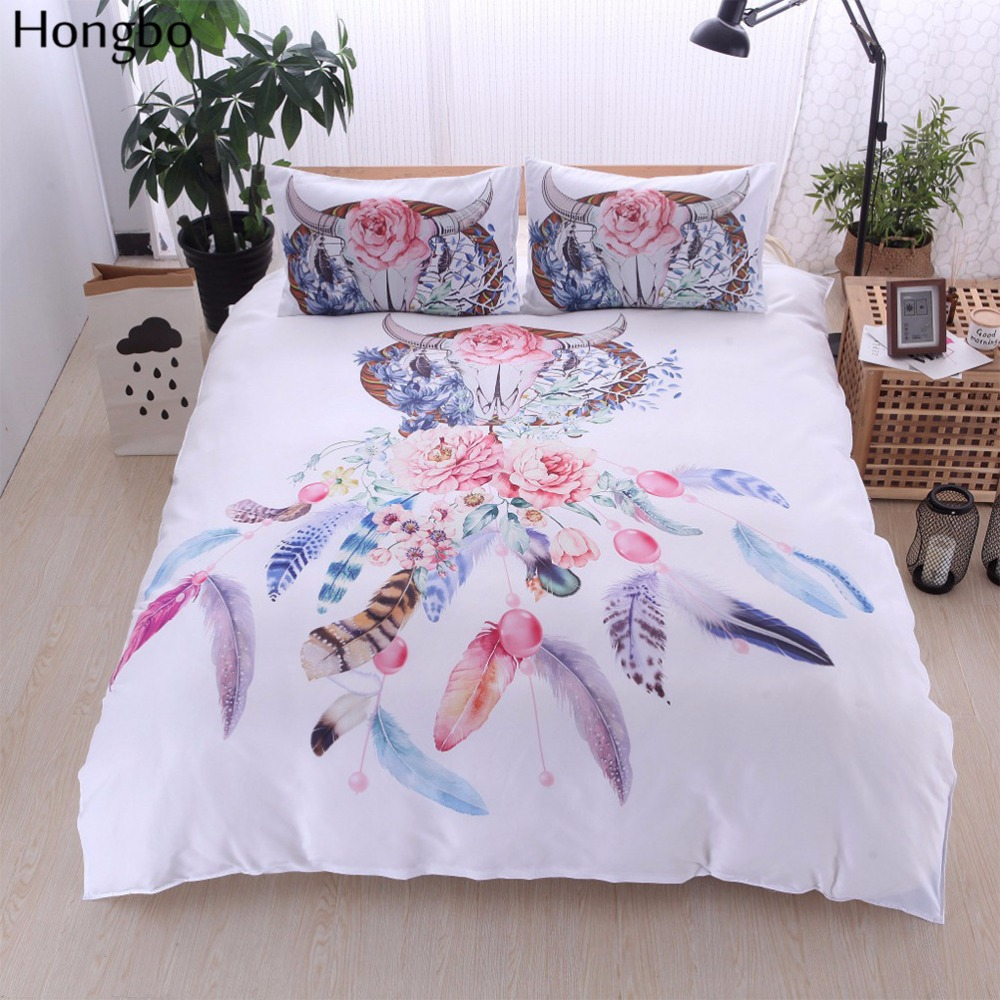 Hongbo Bohemian Feather Elk Duvet Cover Set 2 3Pcs Queen King Bedclothes Bed Linen Bedding Sets No Sheet No Filling in Duvet Cover from Home Garden