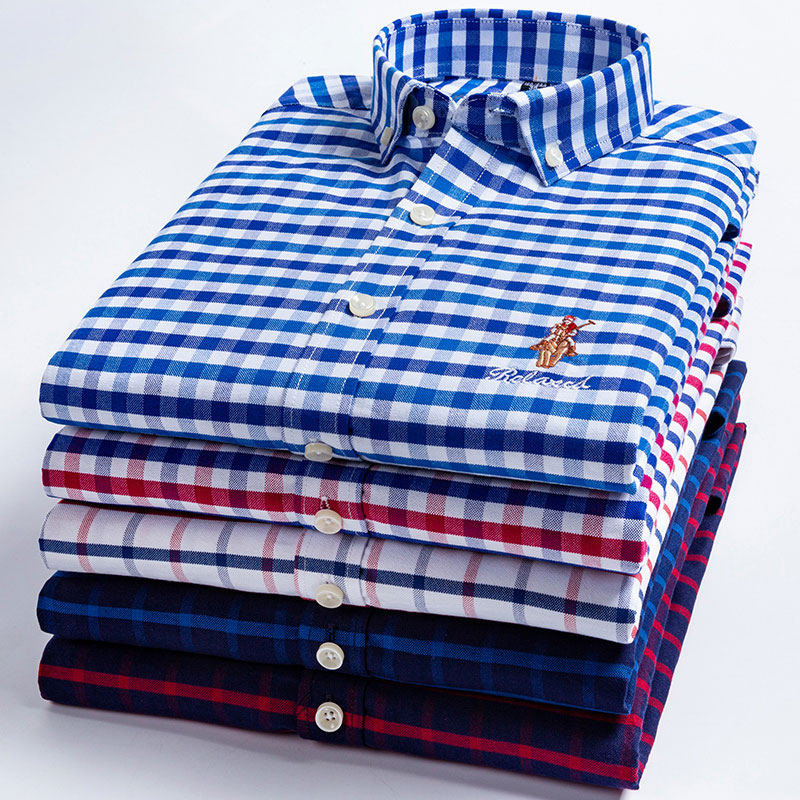 Casual Shirt Soft-Clothes Long-Sleeved Button-Down Men's Fashion Men High-Quality 100%Cotton