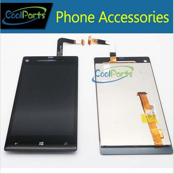 Frete grátis dhl ems para htc windows phone 8x c620e display lcd com tela de toque digitador cor preta 10 pçs/lote