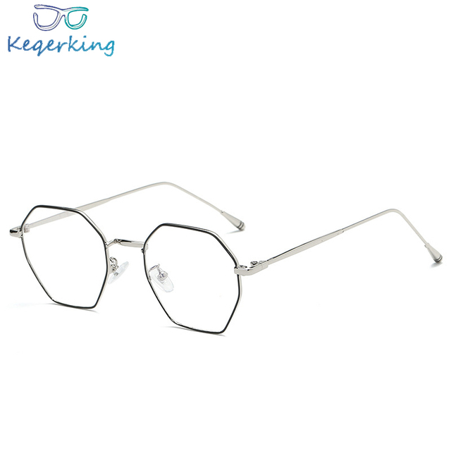 c01d456191 Polygon Clear Glasses Eyeglasses Metal Myopia Eyewear Women Men Spectacle Frames  Optical Glasses Frame Transparent Lens ZB-91