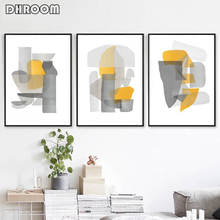 Modern Abstract Art Set of 3 Posters Gray Yellow Wall Canvas Painting Scandinavian Picture Dining Room