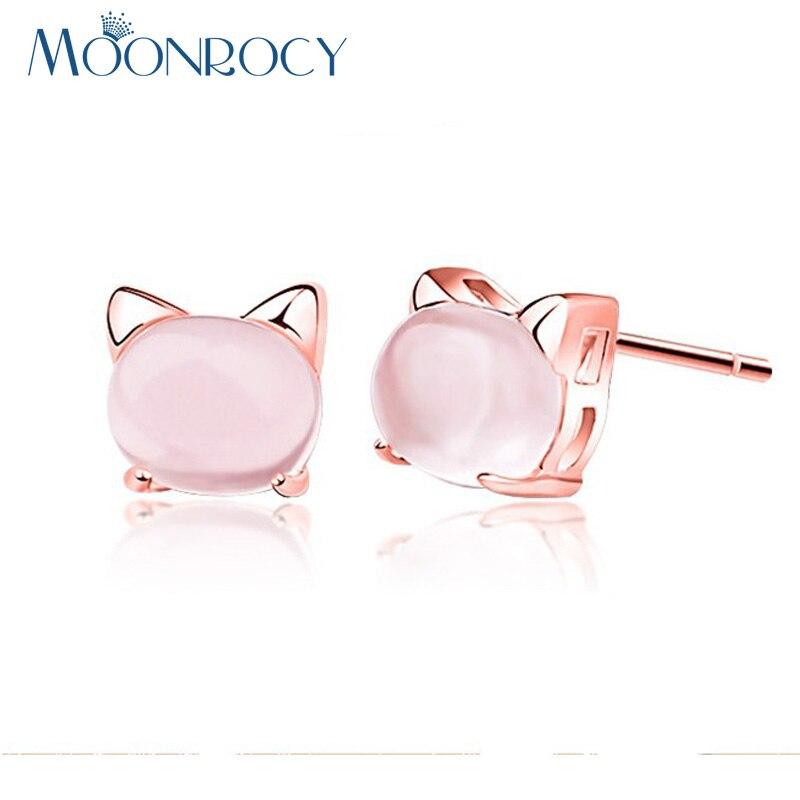 MOONROCY Drop Shipping Rose Gold Color Cubic Zirconia Ross Quartz Cute Cat Animal Pink Opal Earrings for Women Gift Girls