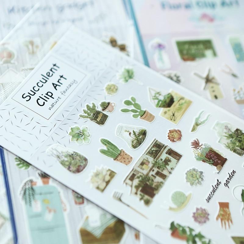 2pcs/lot Life Series Cartoon PVC Sticker Cute Plants DIY Kawaii Diary Scrapbooking Decor Sealing Sticker Kids Gift