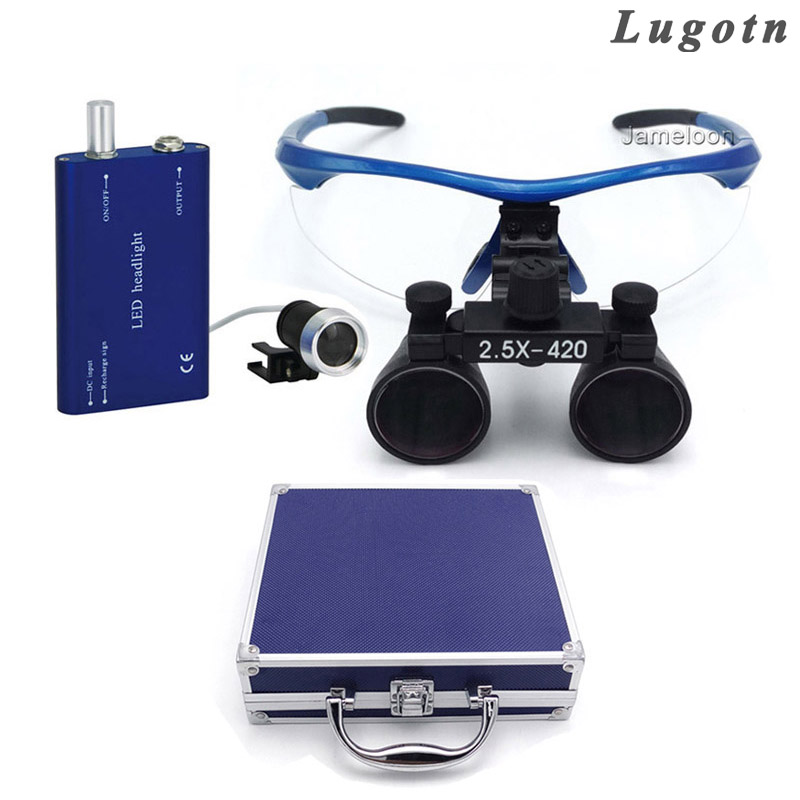 Metal box 2.5X magnification surgical magnify medical led head lamp dental operate loupe dental operating magnifier metal box 3 5x times enlarger dental amplify operate loupe led head light operating magnifier surgical amplification
