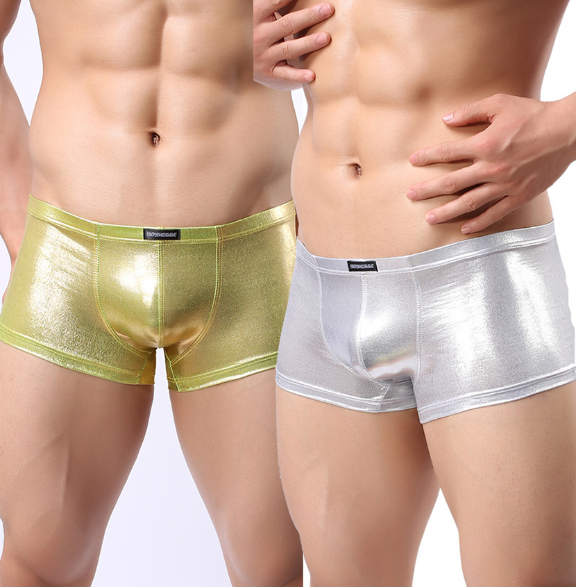 Hot Sexy Men Gloosy Leather Latex Boxer Underwear Swimwear Trunk Sheath Shorts Pouch Penis Panties Exotic Beachwear Gold/Silver