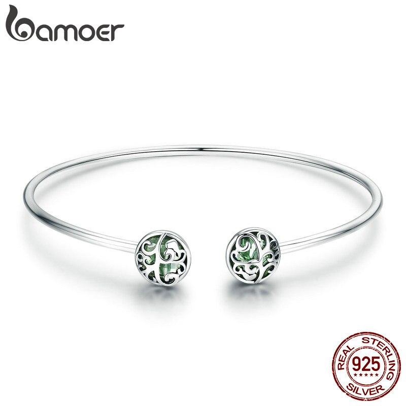 BAMOER genuino 925 plata esterlina Árbol de la vida verde de cristal de CZ de mujeres brazalete abierto brazalete y pulsera de joyería de plata de lujo SCB057