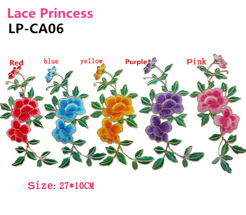 10 PCS 27X10 CM lace fabric  flower applique patch embroidered flowers stage cheongsam clothes diy accessories LP-CA06