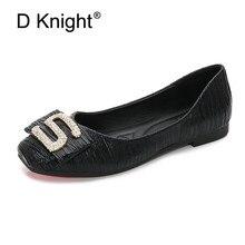 Купить с кэшбэком Korean Women Flats Square Toe Shallow Single Shoes Women Big Size 36-42  Rhinestone S Buckle Flats Shoes Women Creepers Black