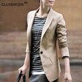 CLUXERCER Bramd Blazer Women Suit Foldable Long Sleeve Lapel Coat Single Button Vogue Suit Jacket Women Blazers Plus Size