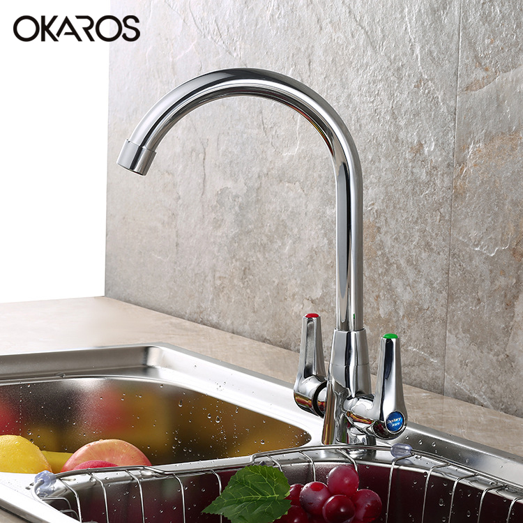 Kitchen Faucet Laundry Sink Faucet Tap Chrome Finish Deck Mounted Dual Handle 360 Degree Rotation Hot