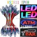 aaa 12мм ws2811 привело пикселей модуль, ip68 водонепроницаемый dc5v полный цвет rgb 50 шт строку рождества свет адресно