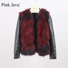 pink java QC8118 free shipping new arrival high end natural raccon dog fur jacket with genuine leather sleeves coat