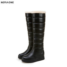 NEMAONE Large Size 34-43 black pink white Women Shoes Woman snow boots Casual comfortable Warm Plush Winter Knee High Boots