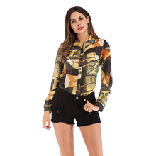 VZFF Blouse Women 2019 Spring And Summer Models Fashion Printed Chiffon Shirt Lapel Single-Breasted