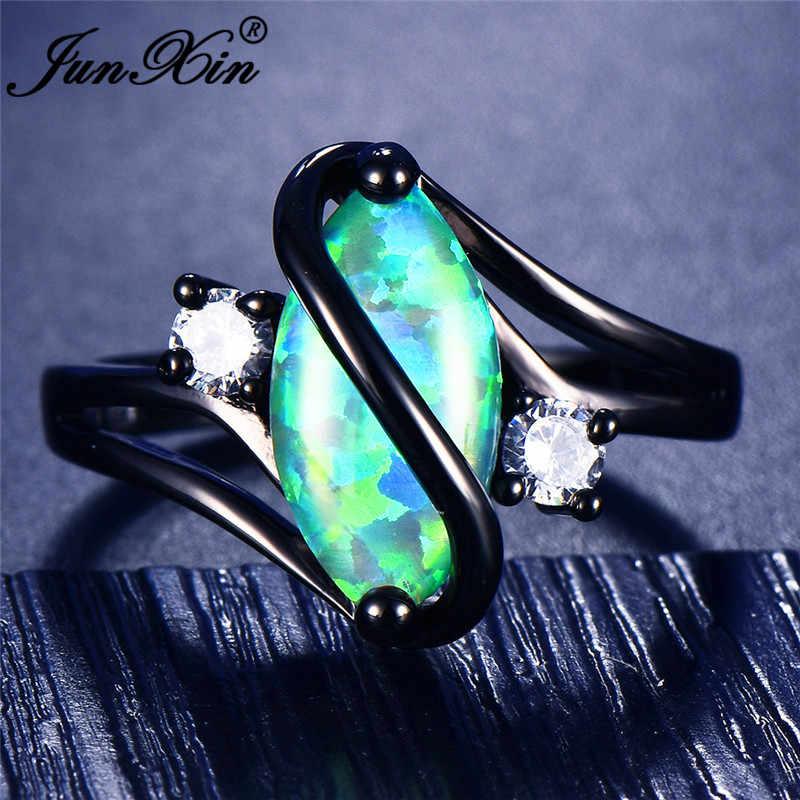 JUNXIN 90 OFF! Cầu vồng Lửa Opal Nhẫn Đối Với Phụ Nữ Black Gold Filled S Sóng Vòng Marquise Horse Eye Đá Birthstone Nhẫn Cưới