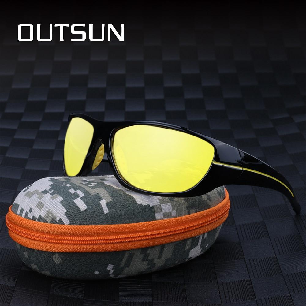 OUTSUN Homens Polarized Noite Óculos de Condução Óculos de Lente Amarela  Night Vision Goggles Reduzir O 7a970c75ed