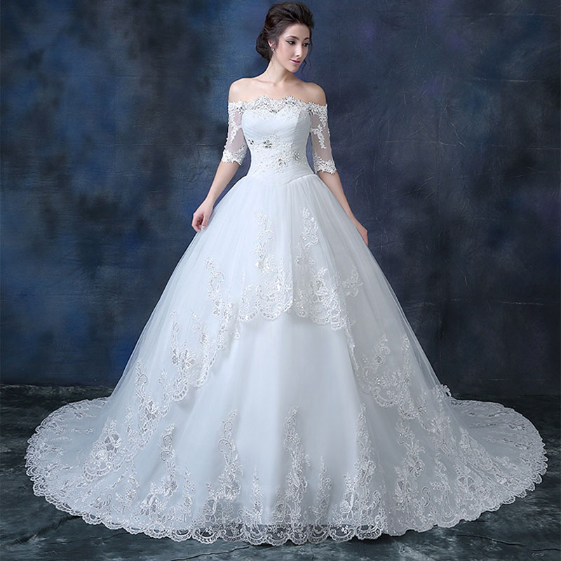 Luxury pregnant woman lace wedding gown with long trailing women ...