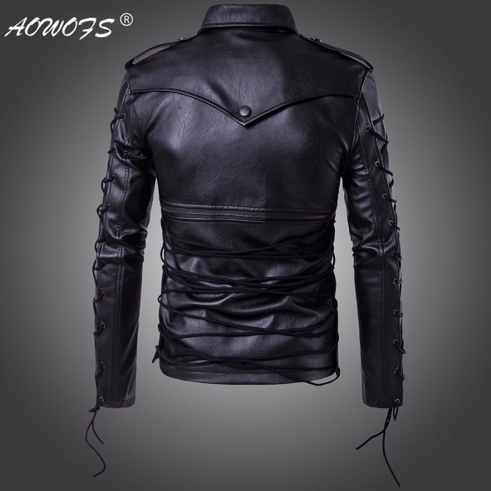 22fe1face 2017 New men's clothing fashion personality motorcycle leather clothing  leather jacket outerwear plus size stage singer costumes-in Faux Leather  Coats ...