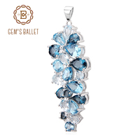 GEM S BALLET London Blue Topaz Swiss Blue Topaz Sky Blue Topaz Mix Gemstone Pendants For
