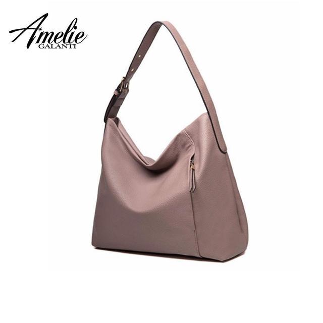 AMELIE GALANTI Half Moon Women Leather Handbag Lady High Quality PU Socialite Shoulder Crossbody Bag Classical Design Female Bag