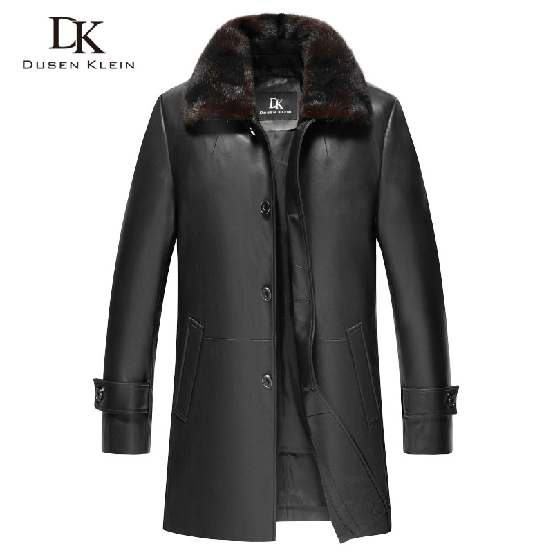 Men Genuine Leather Jacket Winter Warm Coat Mink fur collar+Rabbit hair liner+Sheepskin Long 2018 New 5XL Plus size Z17036