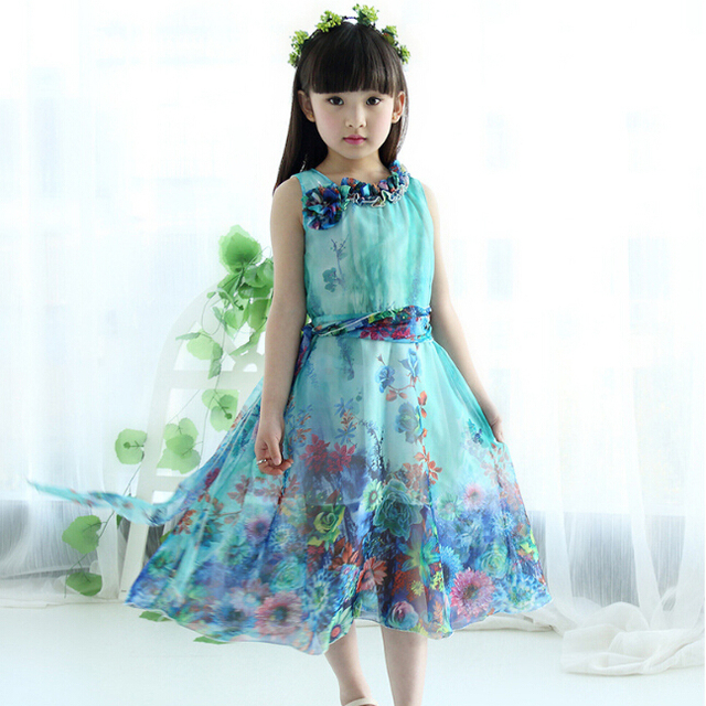 24b84304d7 2018 new summer girls cute bohemian floral chiffon long princess dress  4-15years kids children beach fashion dresses clothes 422