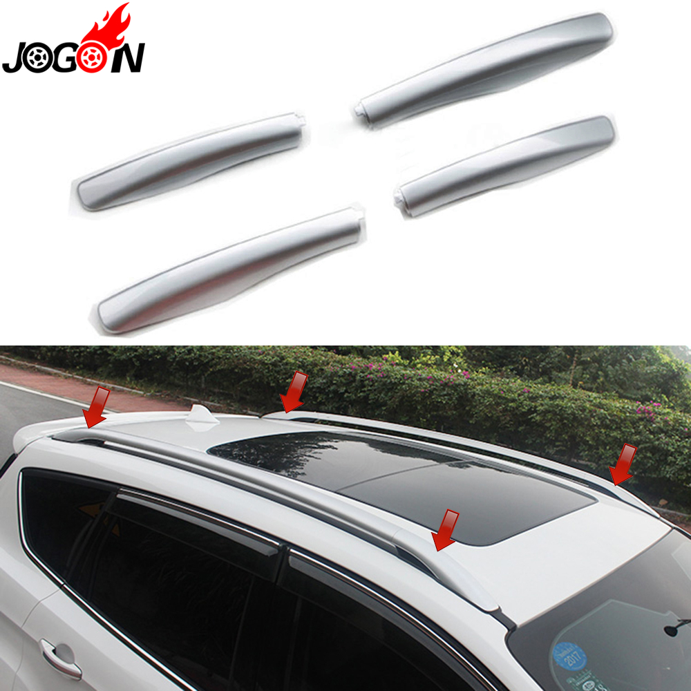 HIGH FLYING Car Accessories Silver Roof Rack Rails End Cap Protection Cover Shell for Toyota RAV4 2013-2017
