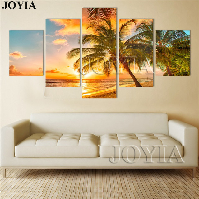 Sunset sea wall art beach paintings on canvas wall decor modern seascape palm tree painting set