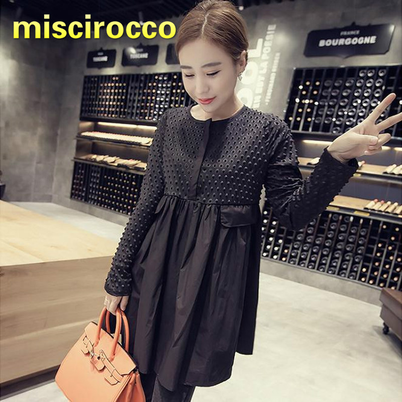 Big Size 4XL Maternity Dress Spring And Autumn Fat Mm Long Pregnant Women's Shirt Women Blouses Black Cotton Fashion