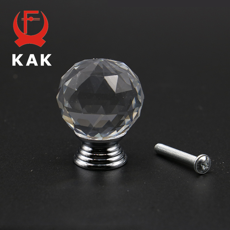 KAK 20-40mm Crystal Ball Design Clear Crystal Glass Knobs Cupboard Drawer Pull Kitchen Cabinet Wardrobe Handles Hardware mtgather 8pcs 40mm clear crystal glass diamond cut door knobs kitchen cabinet drawer knobs screw home decorating