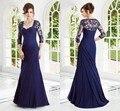 2017 Novo e Elegante vestido de madrinha Apliques Três Quartos Mãe da noiva vestidos Ruffles Bainha Vestidos de Noite